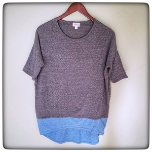 LulaRoe Simply Comfortable Gray and Blue Tshirt
